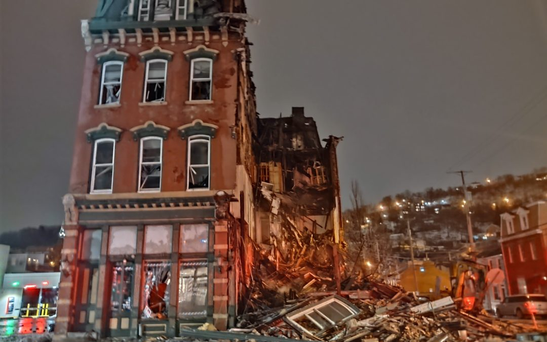 Aftermath from the 4 Alarm Fire at the Pittsburgh Southside Chamber of Commerce Building